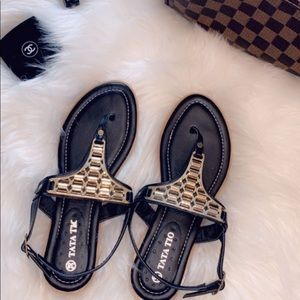 Shoes - Black and gold sandals size 6.5